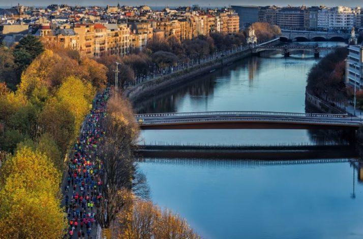 Vista aérea de la maratón de San Sebastián